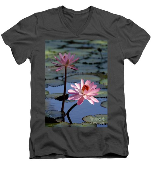 Pink Water Lily In The Spotlight Men's V-Neck T-Shirt