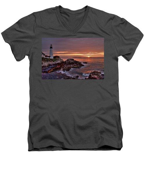 Men's V-Neck T-Shirt featuring the photograph Portland Head Lighthouse Sunrise by Alana Ranney