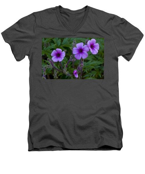 Purple Men's V-Neck T-Shirt