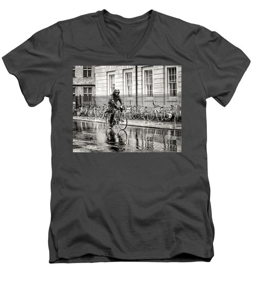 Rainy Day Ride Men's V-Neck T-Shirt by William Beuther