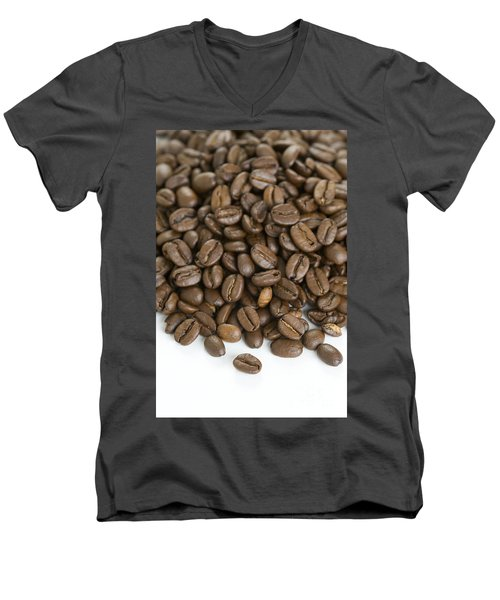 Men's V-Neck T-Shirt featuring the photograph Roasted Coffee Beans by Lee Avison