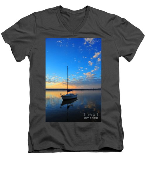 Men's V-Neck T-Shirt featuring the photograph Sailing 2 by Terri Gostola