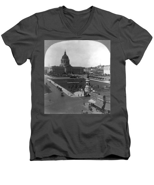 Men's V-Neck T-Shirt featuring the photograph San Francisco City Hall by Granger