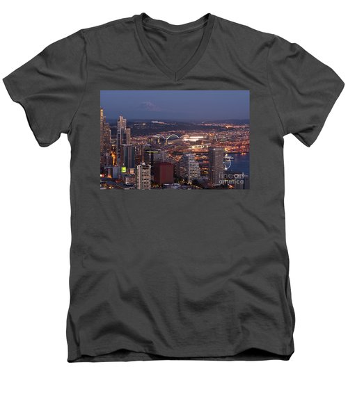 Seattle Skyline With Mount Rainier And Downtown City Lights Men's V-Neck T-Shirt