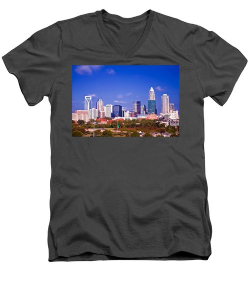 Men's V-Neck T-Shirt featuring the photograph Skyline Of Uptown Charlotte North Carolina At Night by Alex Grichenko