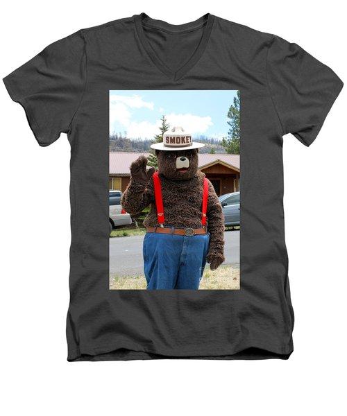 Smokey The Bear Men's V-Neck T-Shirt by Pamela Walrath