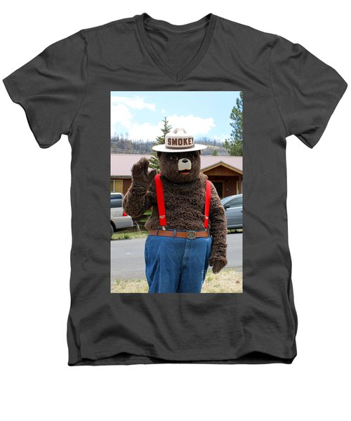 Smokey The Bear Men's V-Neck T-Shirt
