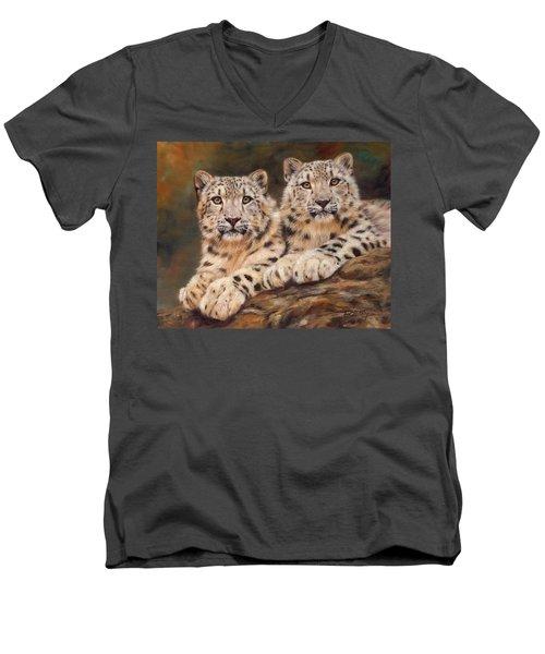 Snow Leopards Men's V-Neck T-Shirt by David Stribbling
