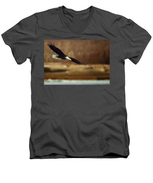 Soaring Bald Eagle Men's V-Neck T-Shirt