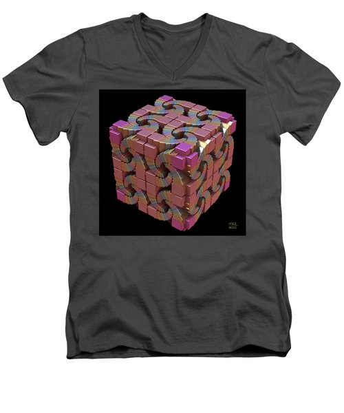 Men's V-Neck T-Shirt featuring the digital art Spiral Box IIi by Manny Lorenzo