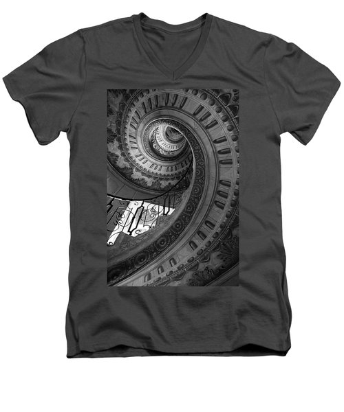 Spiral Staircase Men's V-Neck T-Shirt by Chevy Fleet