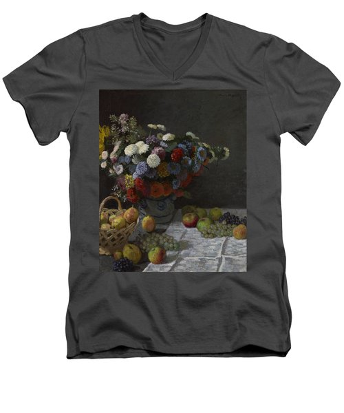 Still Life With Flowers And Fruit Men's V-Neck T-Shirt