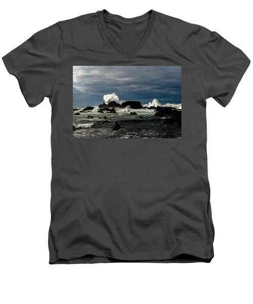 Stormy Seas And Spray Under Dark Skies  Men's V-Neck T-Shirt