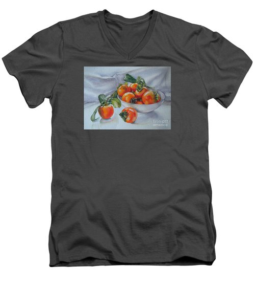 Men's V-Neck T-Shirt featuring the painting Summer Harvest  1 Persimmon Diospyros by Sandra Phryce-Jones