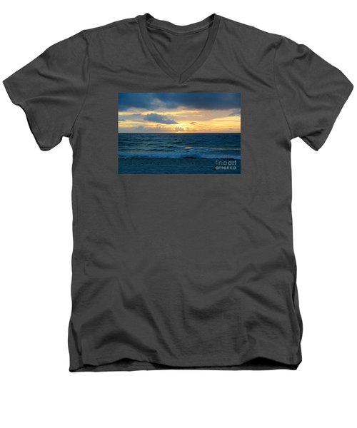 Men's V-Neck T-Shirt featuring the photograph Sunrise In Deerfield Beach by Rafael Salazar