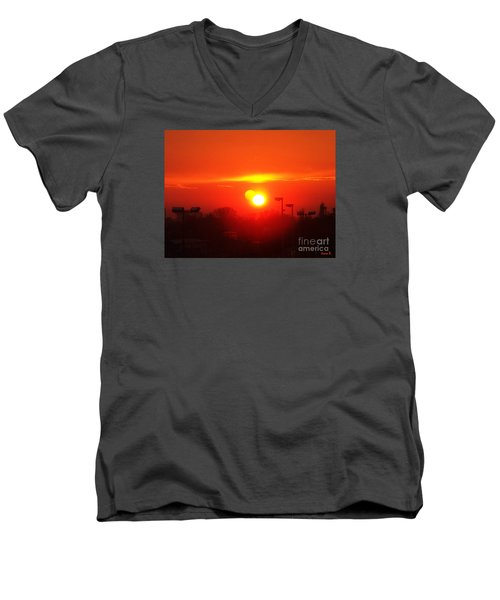 Men's V-Neck T-Shirt featuring the photograph Sunset by Jasna Dragun