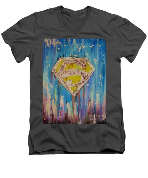 Men's V-Neck T-Shirt featuring the painting Superman's Shield by Justin Moore