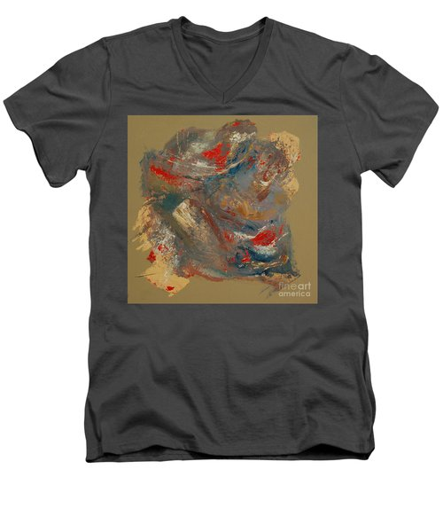 Men's V-Neck T-Shirt featuring the painting Syncopation 2 by Mini Arora