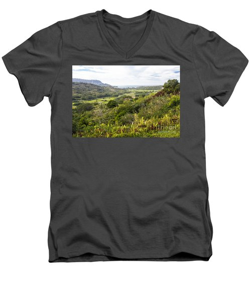 Men's V-Neck T-Shirt featuring the photograph Taro Fields by Suzanne Luft