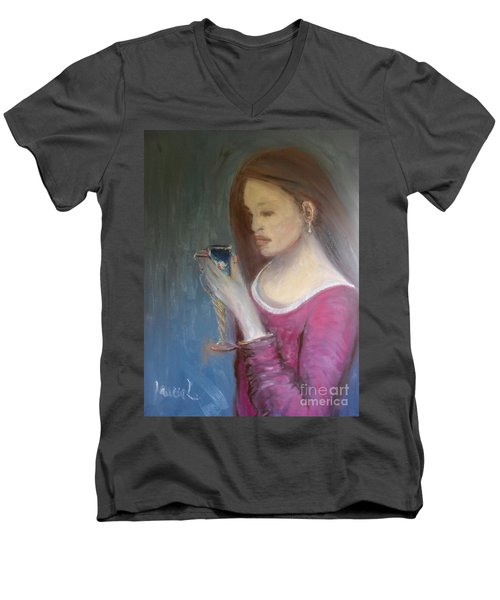 Men's V-Neck T-Shirt featuring the painting The Chalice by Laurie L