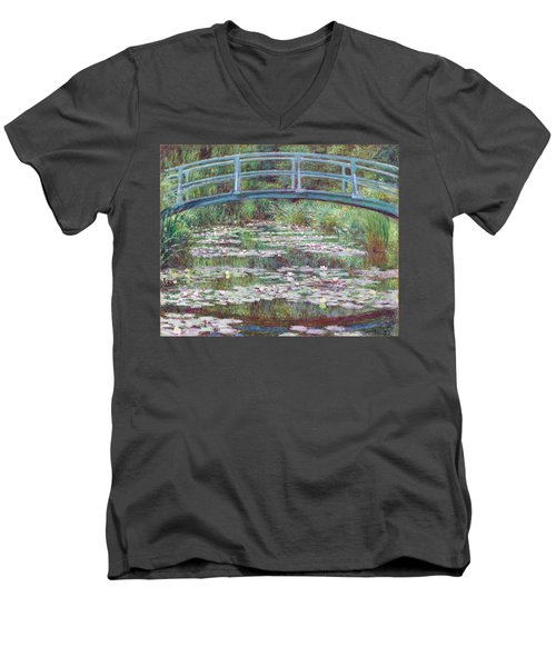 The Japanese Footbridge Men's V-Neck T-Shirt by Claude Monet