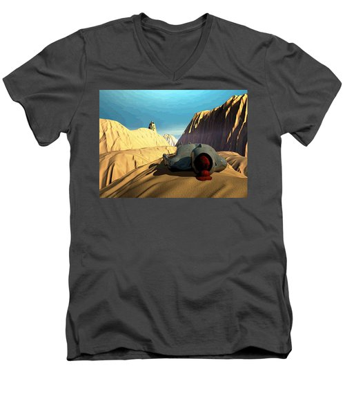 Men's V-Neck T-Shirt featuring the digital art The Midlife Dreamer by John Alexander