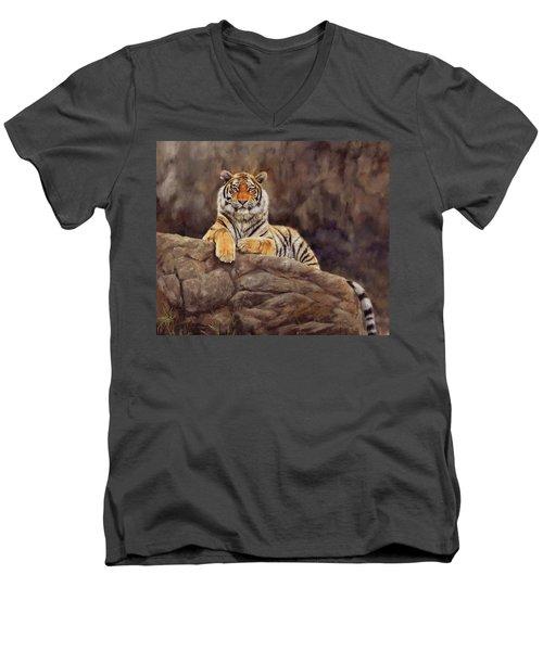 Tiger Men's V-Neck T-Shirt by David Stribbling