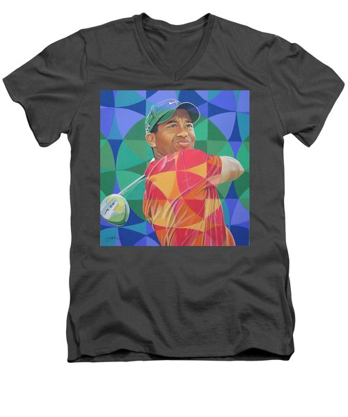 Men's V-Neck T-Shirt featuring the drawing Tiger Woods by Joshua Morton