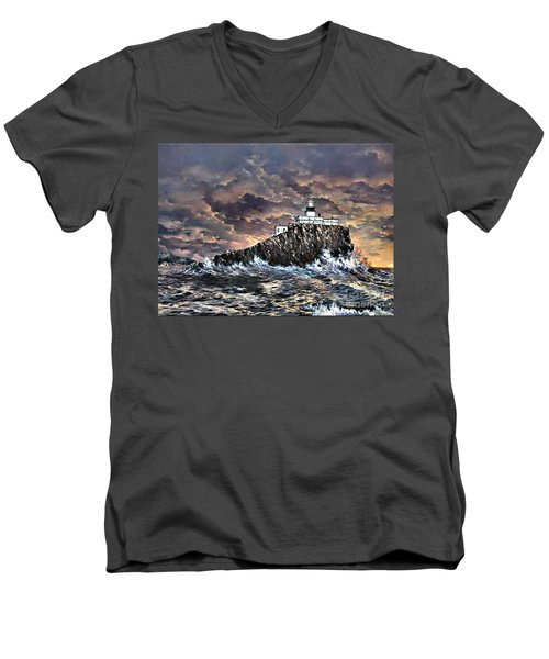 Men's V-Neck T-Shirt featuring the painting Tillamook Rock Light by Lynne Wright