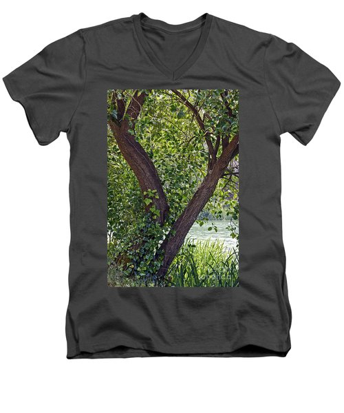 Men's V-Neck T-Shirt featuring the photograph Tree At Stow Lake by Kate Brown