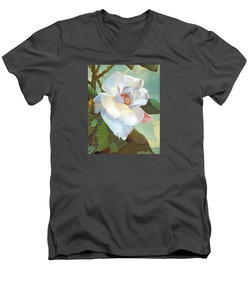 Men's V-Neck T-Shirt featuring the mixed media Unicorn In The Garden by J L Meadows