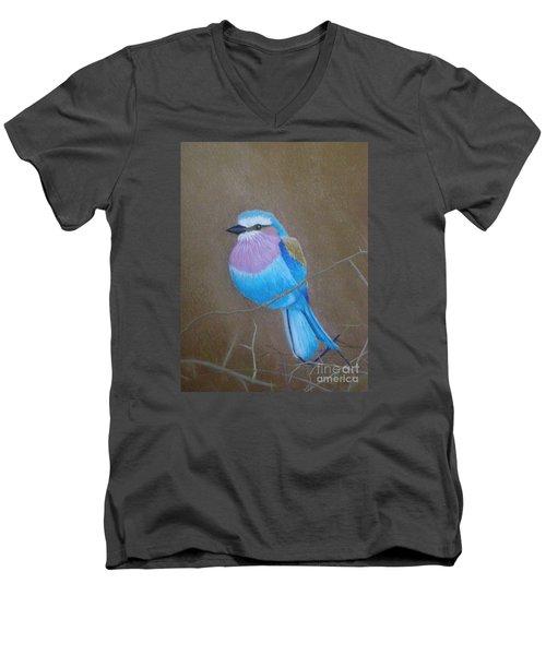Violet-breasted Roller Bird Men's V-Neck T-Shirt