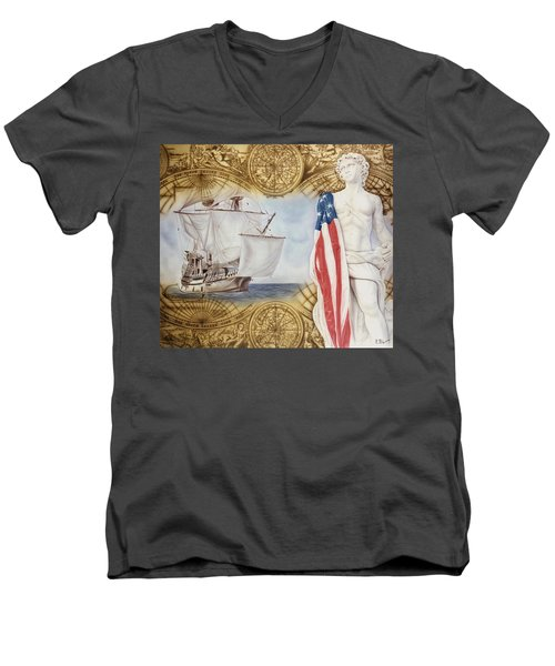 Visions Of Discovery Men's V-Neck T-Shirt by Rich Milo