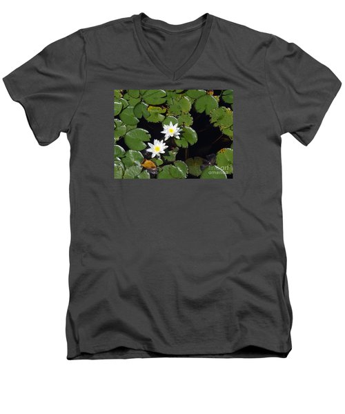 Men's V-Neck T-Shirt featuring the photograph 2 Water Lily by Robert Nickologianis