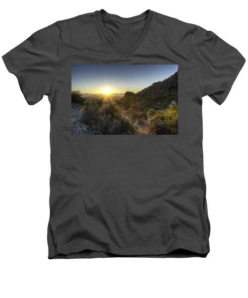 Men's V-Neck T-Shirt featuring the photograph Winter Sunset by Lynn Geoffroy