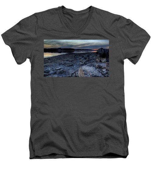 Winter Sunset On The Lake Men's V-Neck T-Shirt