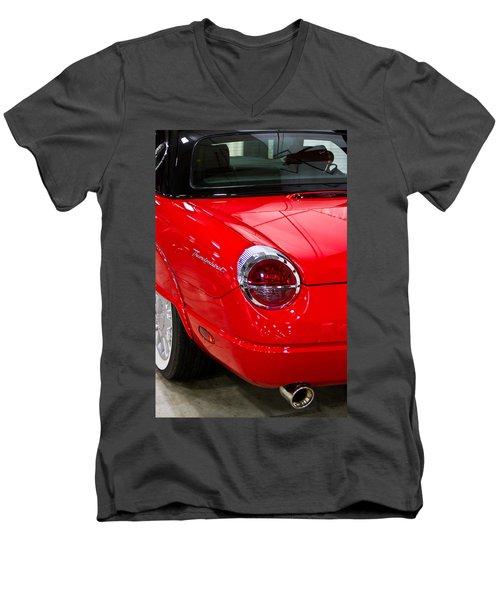 2002 Red Ford Thunderbird-rear Left Men's V-Neck T-Shirt