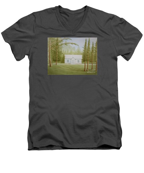 Men's V-Neck T-Shirt featuring the painting A North Carolina Church by Stacy C Bottoms