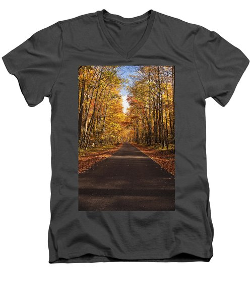 Autumn Drive Men's V-Neck T-Shirt by Andrew Soundarajan