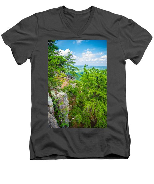 Beautiful Aerial Landscape Views From Crowders Mountain North Ca Men's V-Neck T-Shirt