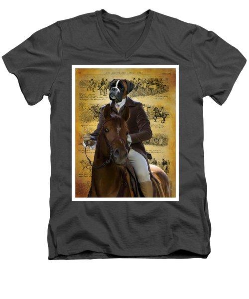 Boxer Art Canvas Print Men's V-Neck T-Shirt