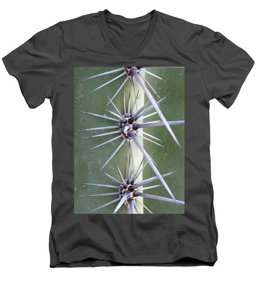 Men's V-Neck T-Shirt featuring the photograph Cactus Thorns by Deb Halloran