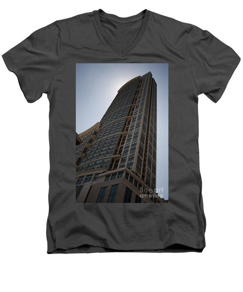 Men's V-Neck T-Shirt featuring the photograph City Architecture by Miguel Winterpacht