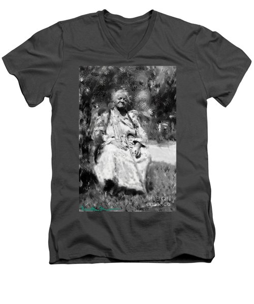 Men's V-Neck T-Shirt featuring the drawing Former Slave Woman by Vannetta Ferguson