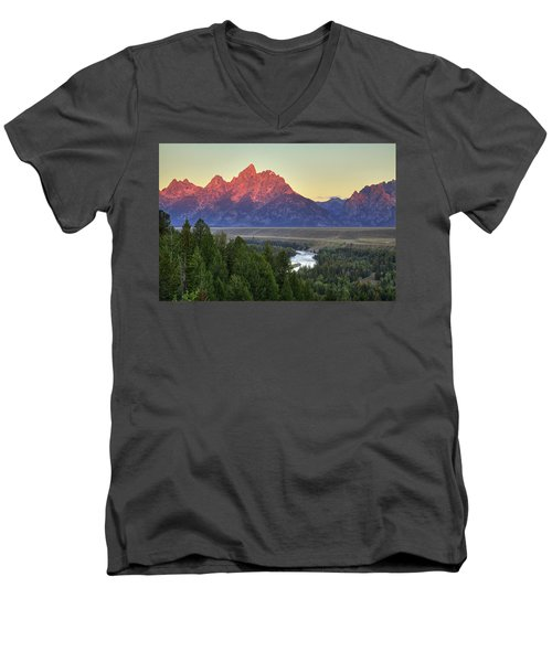 Men's V-Neck T-Shirt featuring the photograph Grand Tetons Morning At The Snake River Overview - 2 by Alan Vance Ley