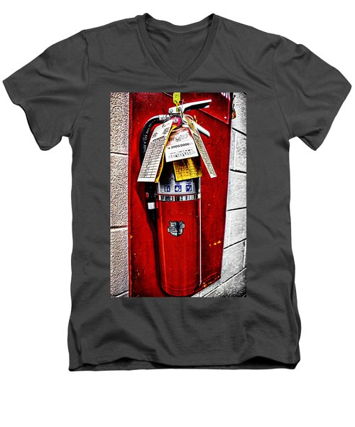 Grungy Fire Extinguisher Men's V-Neck T-Shirt