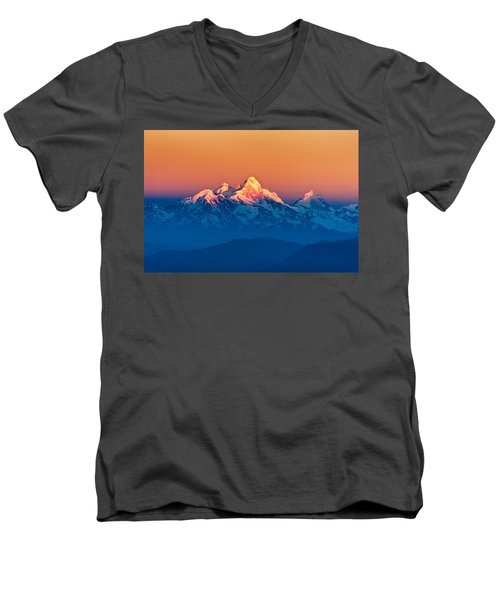Himalayan Mountains View From Mt. Shivapuri Men's V-Neck T-Shirt by Ulrich Schade