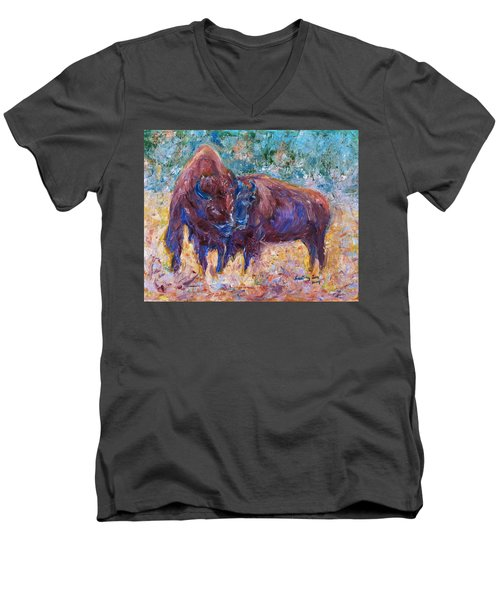 Men's V-Neck T-Shirt featuring the painting Love Season II by Xueling Zou
