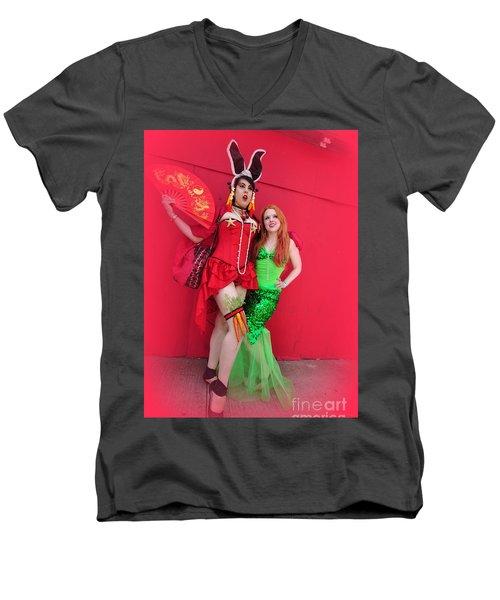 Mermaid Parade 2011 Men's V-Neck T-Shirt by Mark Gilman