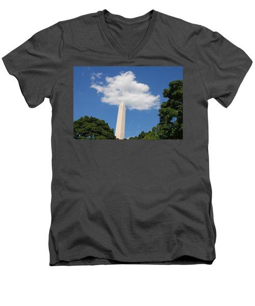 Obelisk Rises Into The Clouds Men's V-Neck T-Shirt